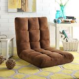 Loungie Supersoft Folding Adjustable Floor Relaxing/Gaming Recliner Chair, Brown