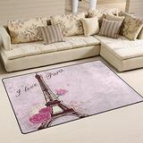 WOZO Pink Roses Eiffel Tower Area Rug Rugs Non-Slip Floor Mat Doormats Living Dining Room Bedroom Dorm 60 x 39 inches inches Home Decor