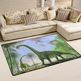 WOZO Antique Forest Dinosaur Area Rug Rugs Non-Slip Floor Mat Doormats Living Dining Room Bedroom Dorm 60 x 39 inches inches Home Decor