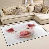 WOZO Watercolor Cute Pig Piggy Area Rug Rugs Non-Slip Floor Mat Doormats for Living Room Bedroom 60 x 39 inches