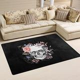 WOZO Sugar Skull Day of The Dead Area Rug Rugs Non-Slip Floor Mat Doormats Living Dining Room Bedroom Dorm 60 x 39 inches inches Home Decor