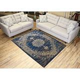 """Navy Blue Area Rug 4'9"""" x 6'10"""" Vintage Medallion Isfahan Design Traditional Oriental Area Rugs Modela Collection"""