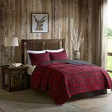 3pc Black Red Classic Plaid Quilt King/Cal King Set, Cotton, Tartan Checked Pattern Bedding Cabin Lodge Themed Madras Checkered Squares Southwest Western Patchwork Solid Color