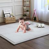 Baby Play Mat, Soft Play Rugs for Boys Girls Infant Baby Toddler Nursery, Thick Grey Rug for Living Room, Playroom, Classroom, Nursery and Dormitor Foam Mat Tatami Mat Exercise Mat 79 by 98 Inch