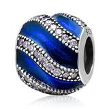 Anniversary Charm 925 Sterling Silver Stripe Charm Wave Charm Love Charm Crystal Charm for Pandora Charms Bracelet (Blue)