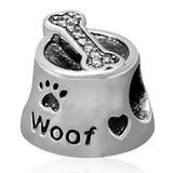 925 Sterling Silver Cat Charm Love Dog Paw Charm Pet Footprint Charm Animal Charm for Pandora Charms Bracelet (Dog)