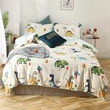 Dinosaur Bedding Comforter Cover Twin for Boys Soft Cotton Kids Bedding Sets with Zipper 3 Piece Bedding Duvet Cover with 4 Corner Ties for Teens White Bedding Sets Blue Bedding Set, No Comforter