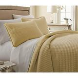 3pc Oversized Yellow Gold King/Cal King Quilt Set, Microfiber, Square Pattern Themed Bedding Cozy Waffle Solid Plush Cottage Cabin Chic Trendy Modern Stylish Sleek Soft Trendy Rectangle