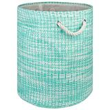 """DII Woven Paper Basket or Bin, Collapsible & Convenient Home Organization Solution for Bedroom, Bathroom, Dorm or Laundry (Large Round - 15x20""""), Aqua Tweed"""