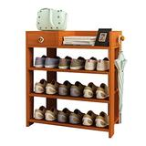 "Jerry & Maggie -Wood MDF Board Shoe Rack Shelf with One Drawer Clothes Rack Shoe Storage Shelves Free Standing Flat Racks Classic Style - Multi Function Shelf Organizer (NATURAL WOOD, 30"" x 12"" x 25"")"