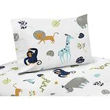 Sweet Jojo Designs Turquoise and Navy Blue Safari Animal Queen Sheet Set for Mod Jungle Collection 4 Piece Set