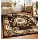 Well Woven Pastoral Medallion Brown French 3 x 5 (3'11'' x 5'3'') Area Rug European Floral Formal Traditional Area Rug Shed Free Modern Classic Contemporary Thick Soft Plush Living Dining Room Rug