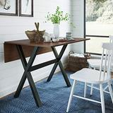 Nathan James Kalos Solid Wood Drop Leaf Folding Kitchen Farmhouse Dining Room or Space Saving Console Table and Desk, Rustic, Dark Brown/Black