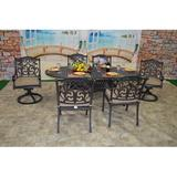 One Allium Way® Simms 7 Piece Sunbrella Dining Set w/ Cushions Metal in Brown, Size 29.0 H x 86.0 W x 42.0 D in | Wayfair
