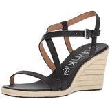 Calvin Klein Women's Bellemine Espadrille Wedge Sandal, Black, 9.5 Medium US