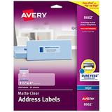 "Avery Matte Frosted Clear Address Labels for Inkjet Printers, 1-1/3"" x 4"", 350 Labels (8662)"