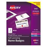 "Avery Self-Laminating Name Badges, 2-1/4"" x 3-1/2"", Box of 30 (5362)"