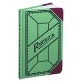 Boorum & Pease 667R Miniature Account Book, Green/Red Canvas Cover, 200 Pages, 9 1/2 x 6