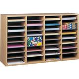 Safco Products Wood Adjustable Literature Organizer, 36 Compartment 9424MO, Medium Oak, Durable Construction, Removable Shelves, Stackable,Light Brown