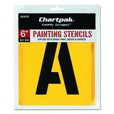 Chartpak Letter and Number Painting Stencils, A-Z and 0-9, 6 Inches H, 35 per Pack (01575)
