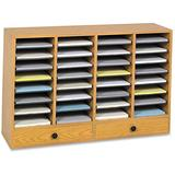 Safco Products Wood Adjustable Literature Organizer, 32 Compartment with Drawers, 9494MO, Medium Oak, Durable Construction, Removable Shelves, Stackable