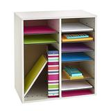 Safco Products Wood Adjustable Literature Organizer, 16 Compartment 9422GR, Gray, Durable Construction, Adjustable Shelves