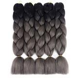 "Ding Dian Kanekalon Braiding Hair Ombre 5Pcs/Lot Synthetic Hair Extensions Ombre Twist Braids Hair High Temperature Hair Extensions (24"" Black-Dark Grey)"