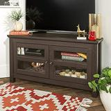 Home Accent Furnishings Lucas 44 Inch Corner Tv Stand with Glass Doors in Espresso