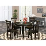 East West Furniture 5-piece wooden dining table set 4 Amazing wooden dining chairs - A Attractive dining table Wooden- Cappuccino round dining table