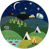 Momeni Lil Mo Whimsy Collection Area Rug, 5' x 5' Round, Blue