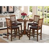 5 Pc pub Table set - high Table and 4 bar stools with backs.