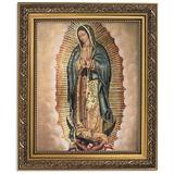 """Elysian Gift Shop Our Lady of Guadalupe 8"""" x 10"""" Catholic Framed Art Print-Wall Plaque- in Ornate Gold Finish Frame. Lamina enmarcada de Nuestra Señora de Guadalupe"""