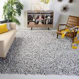 Safavieh Leather Shag Collection LSG601C Hand-Knotted Modern Leather Area Rug, 5' x 5' Square, Grey / White