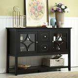 """Mixcept 52"""" Stylish Sideboard Buffet Cabinet Wood Console Table Storage Cabinet with 2 Doors and 2 Drawers, Black"""