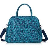 Lily & Drew Carry On Weekender Overnight Travel Shoulder Bag for 15.6 Inch Laptop Computers for Women (Leaf Blue)