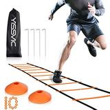 YISSVIC Agility Ladder and Cones 20 Feet 12 Adjustable Rungs Fitness Speed Training Equipment,1 Carry Bags, 10 Cones, 4 Stakes, Basketball, Soccer
