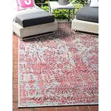 Unique Loom Outdoor Botanical Collection Vintage Country Transitional Indoor and Outdoor Flatweave Light Blue Area Rug (2' 2 x 3' 0)
