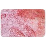 Sweet Home Collection Ultra Soft Faux Fur Shag Non Skid Bath Mat Rug, 20 Inch x 32 Inch, Coral