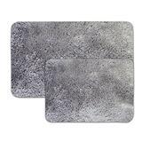 Sweet Home Collection Ultra Soft Faux Fur Shag Non Skid Bath Mat Rug (2 Piece), Set (17 x 24 Inch & 20 x 32 Inch), Gray