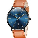 Mens Watches Tan Brown Leather Strap Watches Minimalist Ultra Thin Wrist Watch for Male Blue Dial Watches with Date Waterproof OLEVS