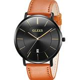 Brown Mens Watches Tan Leather Strap Wrist Watches Black Dial Minimalist Ultra Thin Retro Quartz Watches for Male Waterproof Calendar Window