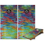 Cornhole Bag Toss Game Board Vinyl Wrap Skin Kit - Tie Dye Tiger 100 (fits 24x48 Game Boards - Gameboards NOT Included)