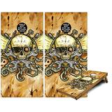 Cornhole Bag Toss Game Board Vinyl Wrap Skin Kit - Airship Pirate (fits 24x48 Game Boards - Gameboards NOT Included)