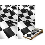 Cornhole Bag Toss Game Board Vinyl Wrap Skin Kit - Checkered Flag (fits 24x48 Game Boards - Gameboards NOT Included)