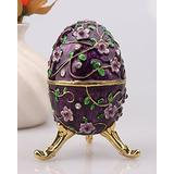 znewlook Decorative Egg Jewelry Box Gifts Faberge Enameled Egg Jewelry Boxes (Purple)