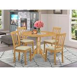 East West Furniture DLAN5-OAK-C 5 PC Dinette Set Table and 4 Dining Chairs
