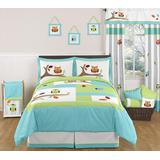 Sweet Jojo Designs Turquoise and Lime Hooty Owl Childrens and Kids 3 Piece Full/Queen Girl or Boy Bedding Set