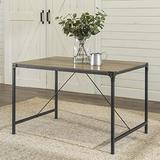 Walker Edison Furniture 4 Person Modern Industrial Farmhouse Wood Rectangle Kitchen Dining Table, 48 Inch, Grey/Brown