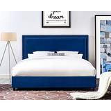 TOV Furniture The Reed Collection Contemporary Style Velvet Upholstered Platform Bed with Nailhead Trim, King Sized, Navy
