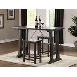 """Major-Q 3 Piece Bar Height Dining Table Set and Bar Stools for Dining Room / Kitchen / Patio, Grey Oak Finish, Table 26 x 54 x 36H, Stool 24""""H"""